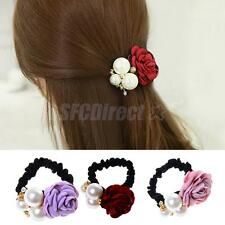 Satin Ribbon Rose Floral Pearls Hairband Ponytail Holder Hair Accessories