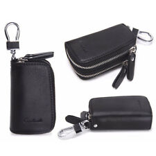 Genuine Leather Car Key Case Chain Holder Double Zippered Key Wallet Black Brown