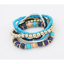 Fashion Charm Womens Bohemian 1 Set Multilayer Acrylic Beads Bracelet Bangle