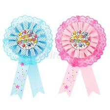 Happy Birthday Award Ribbon Rosette Pin Badge Kids Party Favor Decor PINK/BLUE