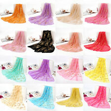 Women's New Floral Soft Chiffon Scarf Butterfly Wrap Long Shawl Scarf Multicolor