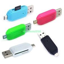 Reliable USB 2.0 + Micro USB OTG SD T-Flash Memory Card Reader For Cell Phone PC