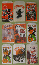Vintage 1940s Bundle of 9 Different Halloween Trick or Treat Candy Bags New