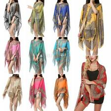 Women Summer Floral Sunscreen Soft Scarves Shawl Neck Wrap Stole Beach Scarf