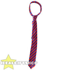 BLUE AND RED THICK SATIN STRIPED NECK TIE SCHOOLBOY FANCY DRESS ACCESSORY