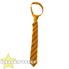 BLACK AND YELLOW THICK SATIN STRIPED NECK TIE SCHOOLBOY FANCY DRESS ACCESSORY