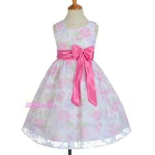 Floral Flower Girl Summer Dress Wedding Easter Holiday Pink Size 4 5 6 7 8 SD013