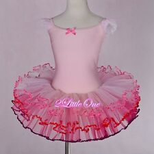Girl Ribbon Ballet Tutu Dance Fairy Costume Pageant Dress Pink Size 3T-8 #049