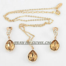 Fashion Simulated Topaz Earrings Necklace Jewelry Set 18KGP Rhinestone Crystal