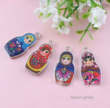 5/10Pcs New Two-Sided Mixed Color Enamel Russian Doll Charms Pendants DIY Decor