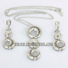 B1-S3024 Fashion white Gold Plated Earrings Necklace Jewelry Set 18KGP Crystal