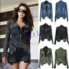 New Womens Denim Autum spike studded Punk Strong shoulder cropped jackets coats