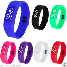 Hot Womens Mens Rubber LED Watch Date Sports Bracelet Mini Digital Wrist Watch