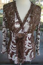PRETTY ANGEL Lacy Corset Style Silk Blend Gold Metallic Blouse Sz. S & M