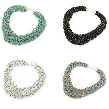 Womens Multicolor Bohemian Handmade Braided Knot Beads Collar Necklace TB