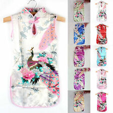 Vintage Kids Girls Retro Chinese Qipao Floral Peacock Cheongsam Dress Clothes