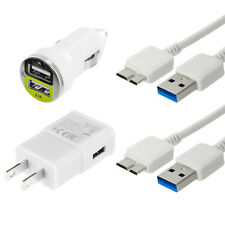 White USB 3.0 Data Cable Cord Wall Car Charger for Samsung Galaxy Note 3 / S5