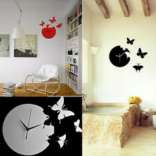 Home Decor Butterfly Time Large Art Design Modern Style 3D Wall Clock New