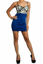 Dress S M L Bandage Skirt Leopard Blue Animal Bustier Sexy Club Party New
