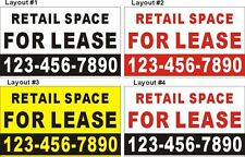 3ftX5ft Custom Printed RETAIL SPACE FOR LEASE Banner Sign with Your Phone Number