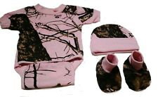 Pink Mossy Oak Camo 3 PC Baby Set includes Matching Diaper Shirt, Hat & Booties