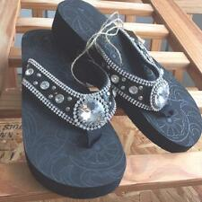 Ladies Rhinestone Bling Black Flip Flops Size 10 Montana West Sandals