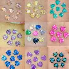 50X Resin Heart AB Flatback Scrapbooking Phone/Wedding Jewelry DIY Making Craft