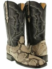 mens exotic genuine snake skin python leather western cowboy square toe boots