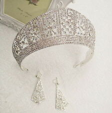 6cm High Crystal Tiara Earrings Set Wedding Party Pageant Prom Crown - 2 Colours