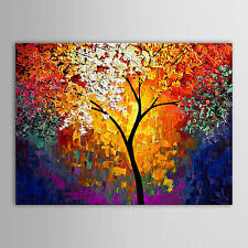 Hand Painted Canvas Oil Painting Landscape Knife Tree Wall Art Decor No Frame
