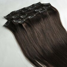 105g 16''~24'' Clip In Real Human Hair Remy Hair Clip Extensions Darkest Brown