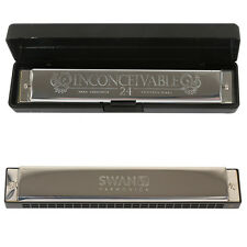 New Silver Harmonica With 24 Holes 48 Reeds Mouth Organ Tremolo Toned Key Choice