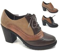 LADIES NEW HIGH HEEL OFFICE SCHOOL SMART FORMAL OXFORD BROGUE SHOES SIZE