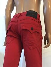 NWT TRUE RELIGION MEN JEANS STRAIGHT WFLPS W BIG T TONAL RED,$273, SZ 29, 30, 34