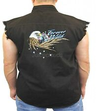 Biker Denim Vest Forever Wild Eagle Wings Biker Wear