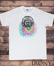 Mens White T-Shirt, Buddha Banksy Headphones Street Art Graffiti Print TS192