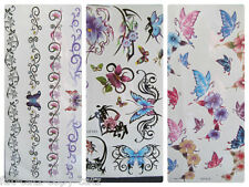 1 SHEET CUTE LADIES COLOURFUL ARTY BUTTERFLIES BANDS TEMPORARY TATTOOS UK SELLER
