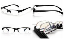 1Pc Myopia Glasses Nearsighted Designer Unisex Half Rimless Reader Black New