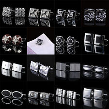 Classical Square Steel Flower Party Gift Mens Cufflinks Laser Cuff Links GG04