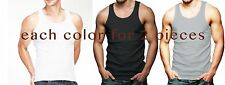 Lot Of 6 Mens Tank Top 100% Cotton A-Shirt Lot Wife Beater Ribbed Undershirt