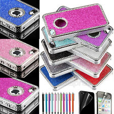 For iPhone 4 4S Aluminum Bling Matte Hard Cover Case w/ Screen Protector + Pen