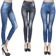 Women Fashion Fake Denim Print Heart Stretch Slim Full Leggings Cute Sexy Pants