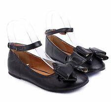 Black Cute Faux Leather Double Bow Pretty Kids Girls Dress Shoes Youth Flats