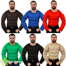FAKE MUSCLE CHEST PADDED SHIRT TOP FANCY DRESS SUPERHERO BODYBUILDER COSTUME