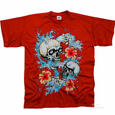 Surfer Skull Gothic Rockabilly Surfing Surf T-Shirt 3134
