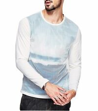 Mens Round Neck Long Sleeve Nets Double Fabric Stitching T-shirt M L XL XXL