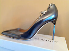 Manolo Blahnik BB Metallic Patent Leather Chain Ankle-Strap Pumps Shoes EU40