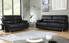 ROCCO Black Leather Sofa Sofas Couch Settee