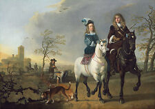 "Aelbert Cuyp : ""Lady and Gentleman on Horseback"" (1655/1665) — Fine Art Print"