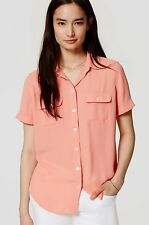 NWT ANN TAYLOR LOFT Coral Short Sleeve Button Front Utility Blouse Size S